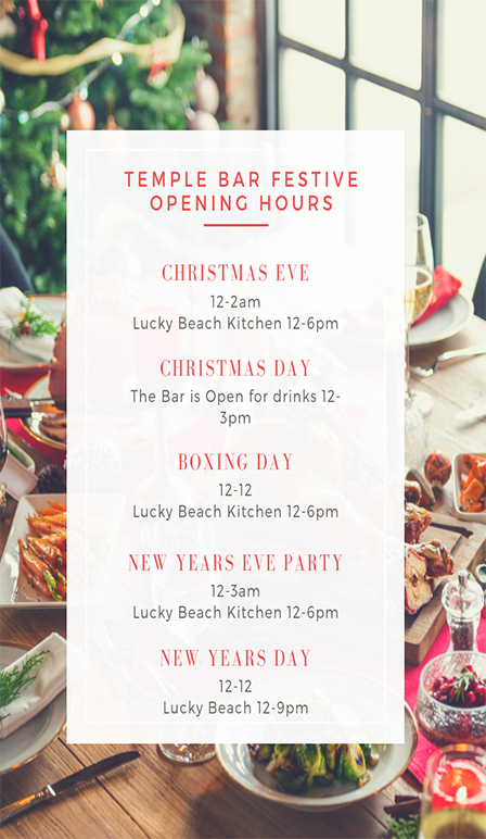 Festive Opening Hours at The Temple Bar Pub Brighton