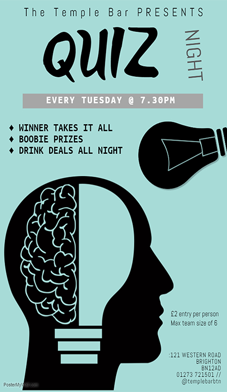 Quiz Night at The Temple Bar Pub Brighton