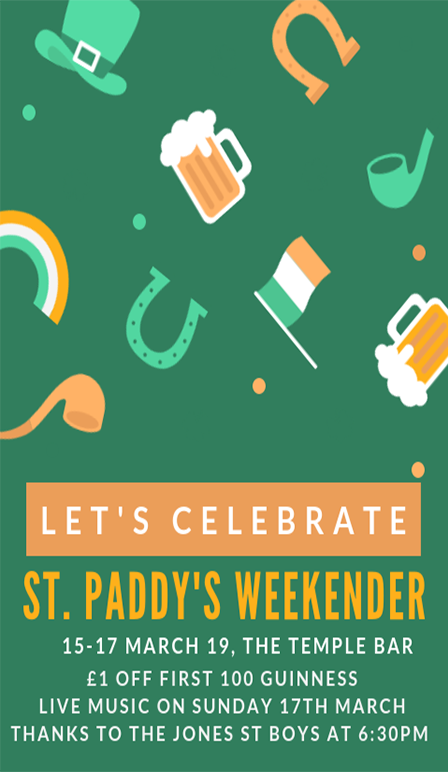 St Paddy's Weekender at The Temple Bar Pub Brighton