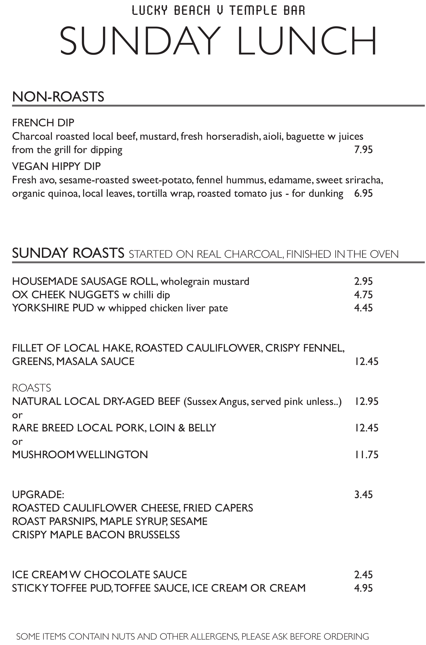 Sunday Menu at The Temple Bar Brighton
