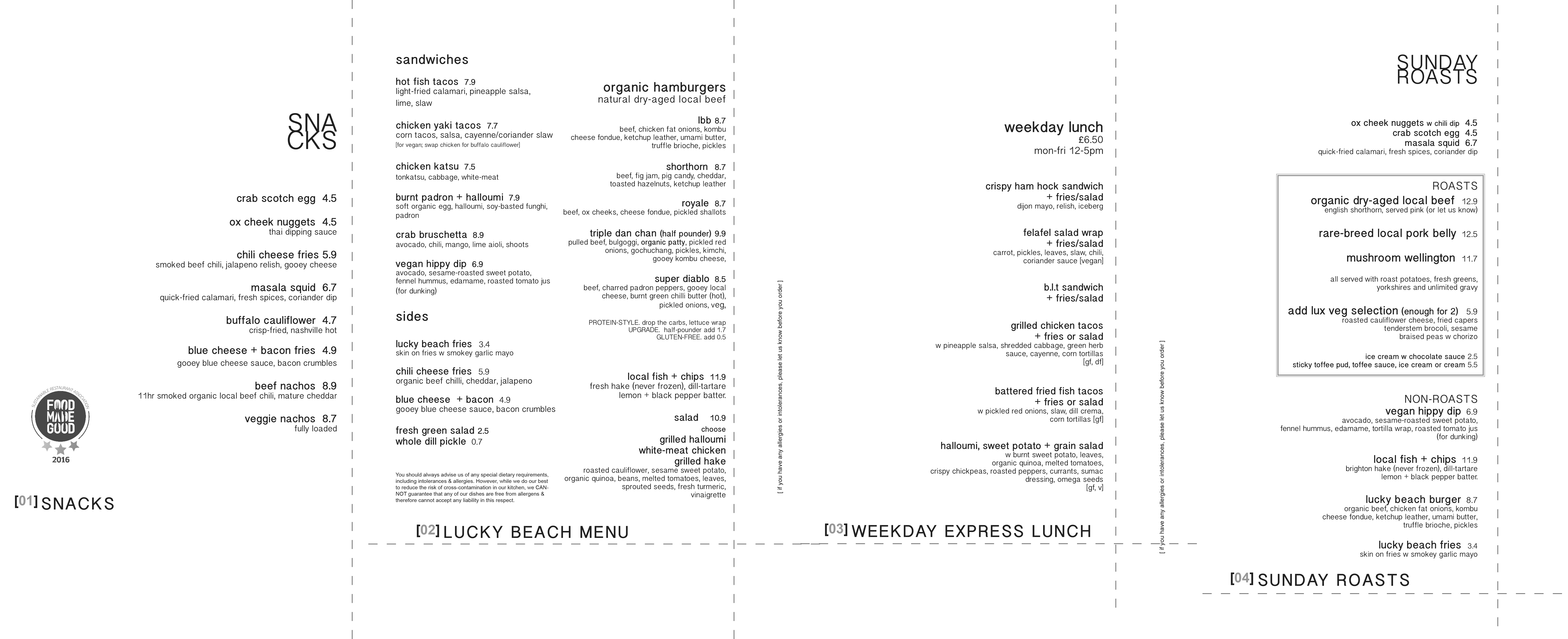 Lunch Menu at The Temple Bar Brighton