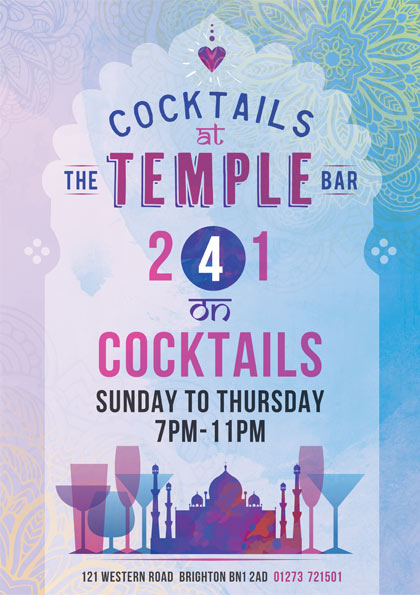 The Temple Bar 2 for 1 cocktails
